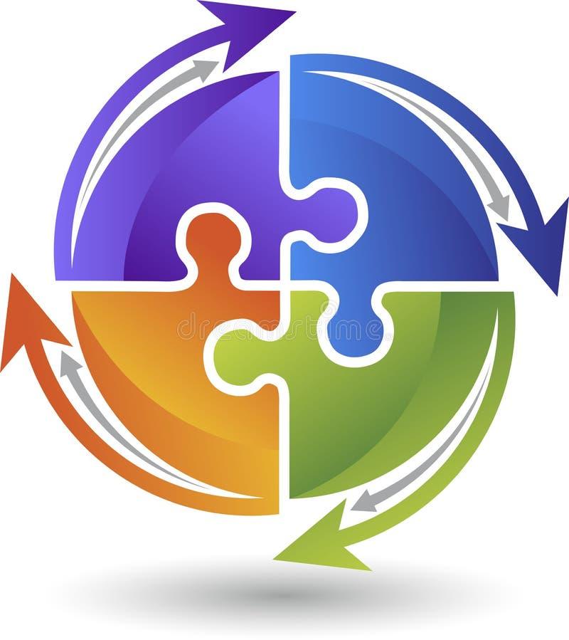 Логотип головоломки круга иллюстрация штока