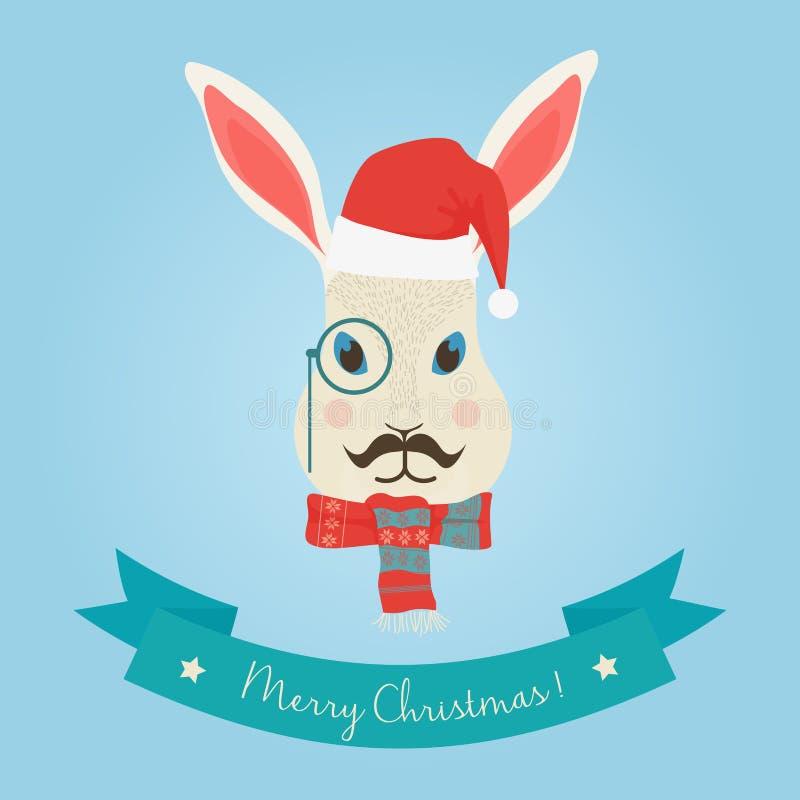 Логотип головы кролика зайчика зайцев леса рождества милый Vector современное модное животное кролика зайцев битника в одеждах бесплатная иллюстрация