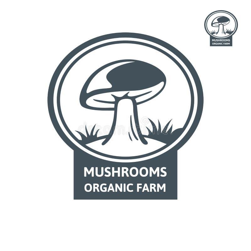 Логотип гриба Porcini органический Ферма гриба дизайна эмблемы иллюстрация вектора