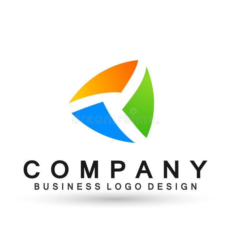 Логотип дела абстрактного треугольника форменный, соединение на корпоративном инвестирует дизайн логотипа дела Финансовые инвести иллюстрация вектора