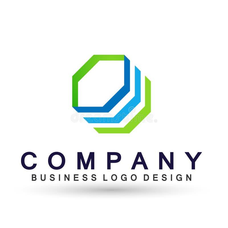 Логотип дела абстрактного шестиугольника форменный, соединение на корпоративном инвестирует дизайн логотипа дела Финансовые инвес иллюстрация штока