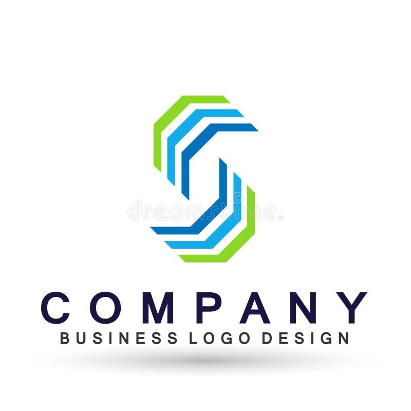 Логотип дела абстрактного шестиугольника форменный, соединение на корпоративном инвестирует дизайн логотипа дела Финансовые инвес иллюстрация вектора