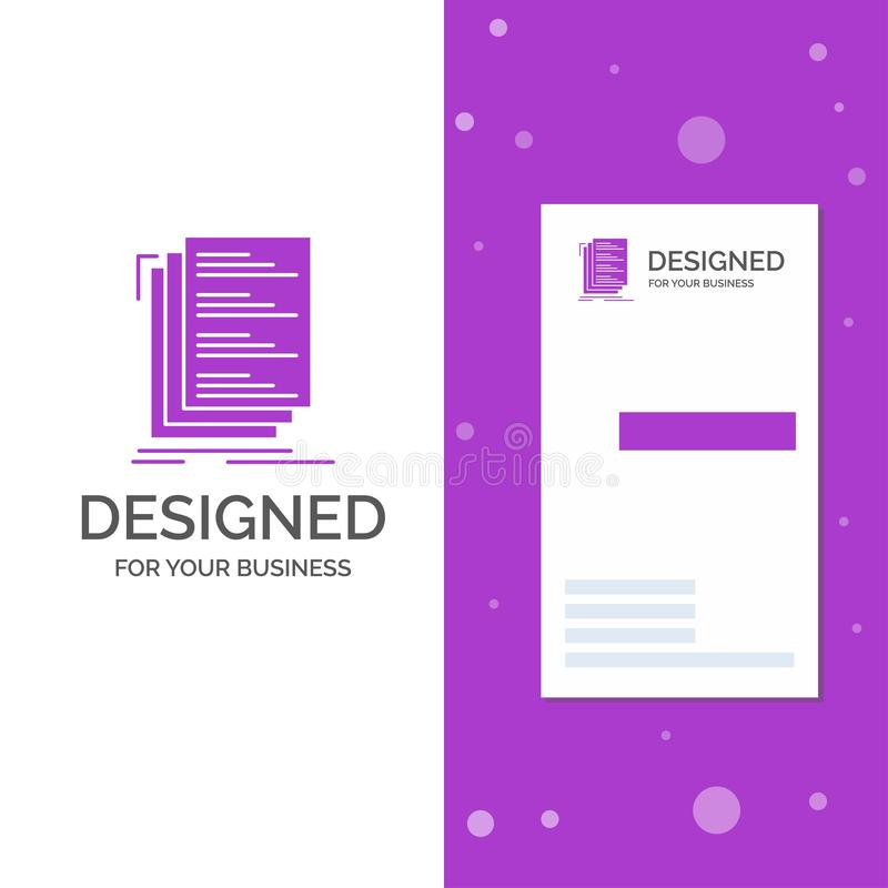 Логотип дела для кода, кодирвоания, составляет, файлы, дело списка вертикальные пурпурные/шаблон карты посещения Творческая предп иллюстрация штока