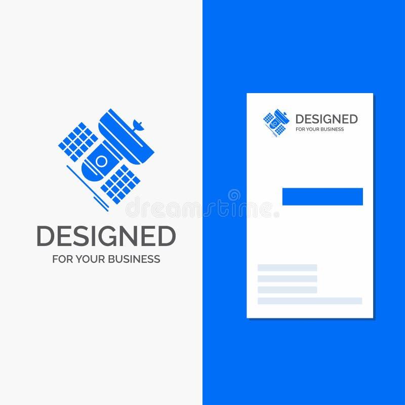 Логотип дела для передачи, широковещания, сообщения, спутника, радиосвязи Вертикальная голубая карта дела/посещения иллюстрация штока