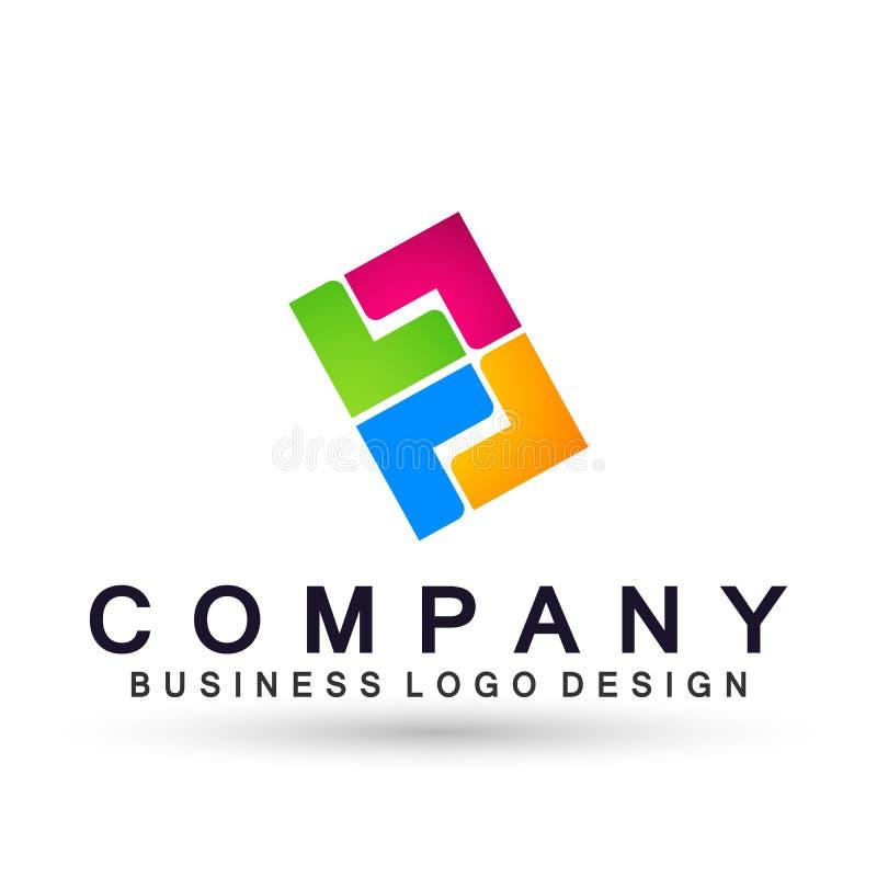 Логотип дела конспекта квадратный форменный, соединение на корпоративном инвестирует дизайн логотипа дела Финансовые инвестиции н иллюстрация штока