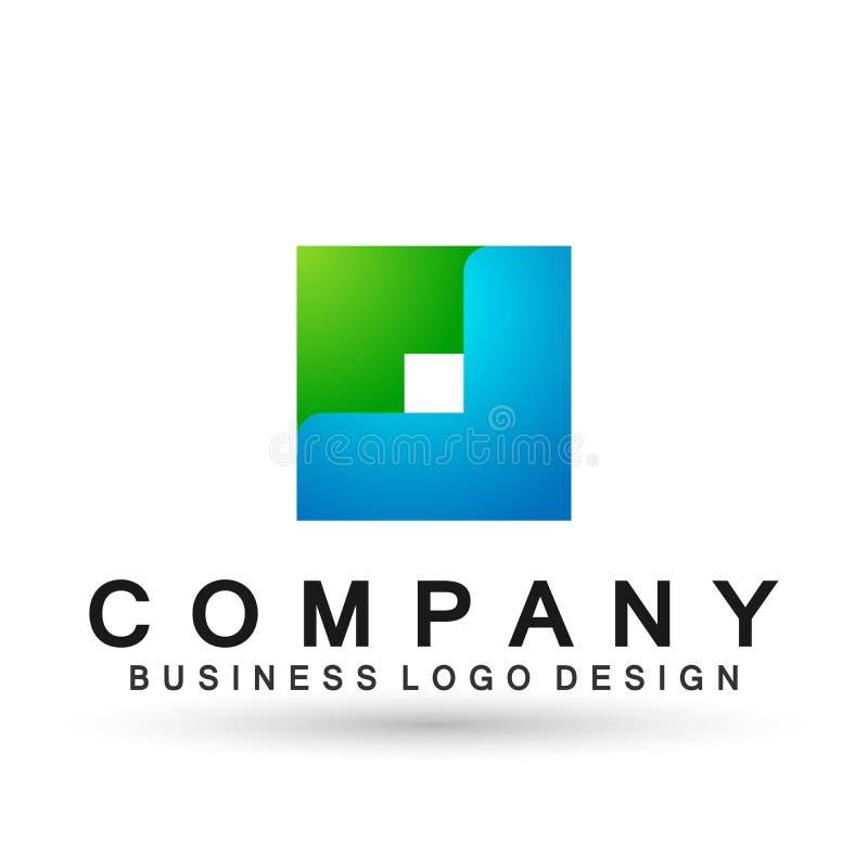 Логотип дела конспекта квадратный форменный, соединение на корпоративном инвестирует дизайн логотипа дела Финансовые инвестиции н иллюстрация вектора