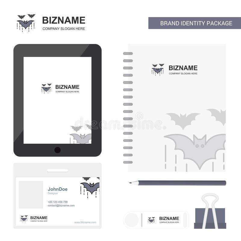 Логотип дела летучей мыши, карта работника PVC приложения платы, дневника и бренд USB шаблон вектора комплексного конструирования иллюстрация вектора