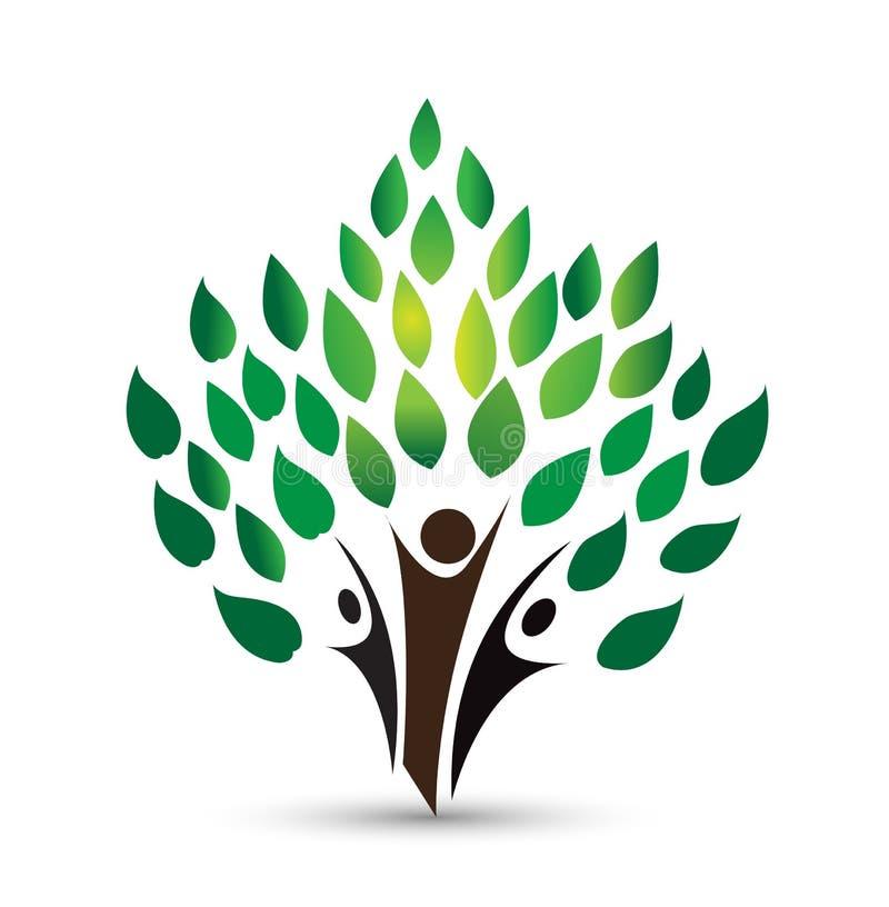 Логотип дерева людей, символ здоровья, вектор установленного дизайна значка фитнеса здоровый иллюстрация вектора