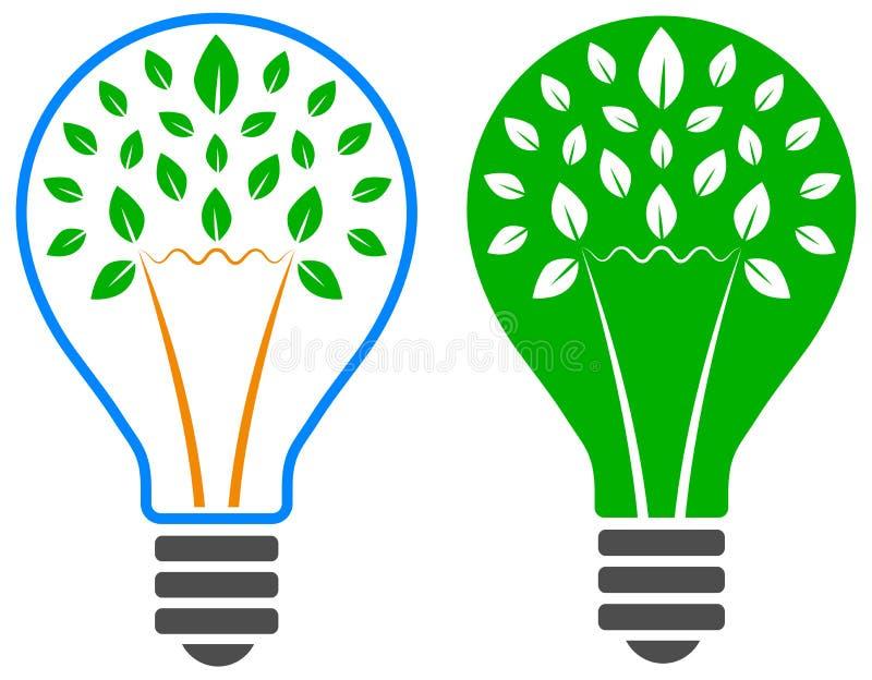 Логотип дерева электрической лампочки иллюстрация вектора