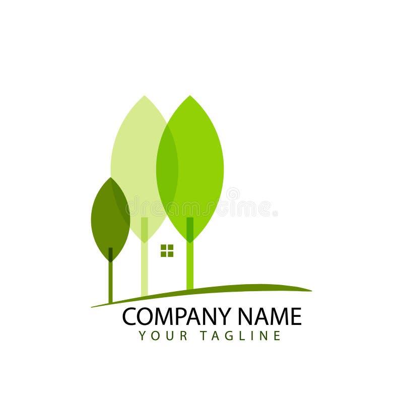 Логотип дизайна недвижимости с концепцией леса иллюстрация вектора