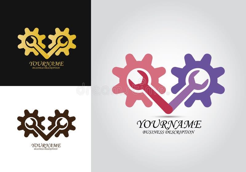 Логотип дизайна ремонта шестерни иллюстрация вектора