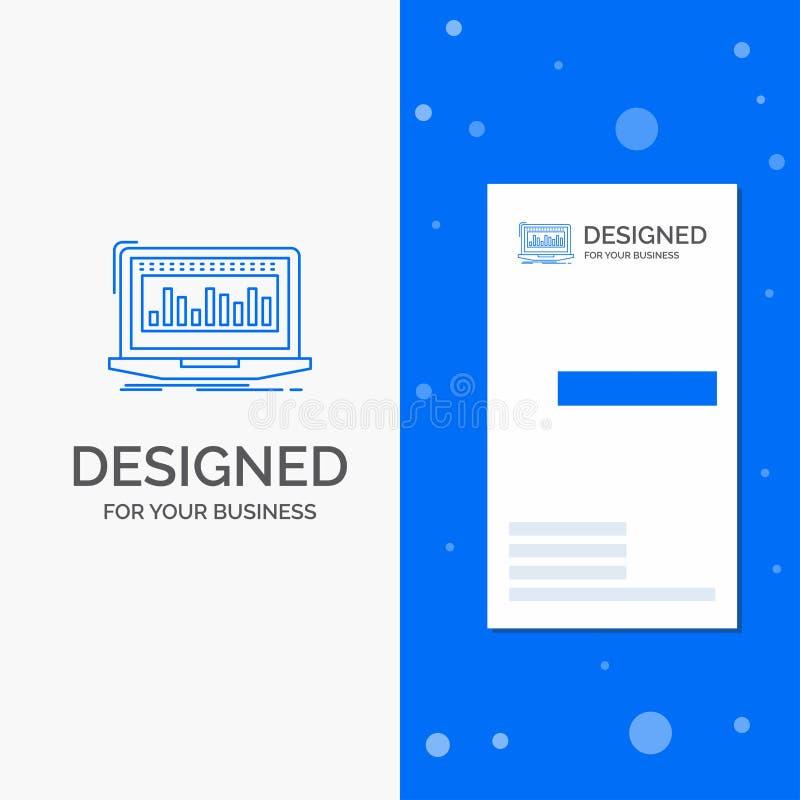 Логотип для данных, финансовый, индекс дела, контроль, запас Вертикальный голубой шаблон карты дела/посещения бесплатная иллюстрация