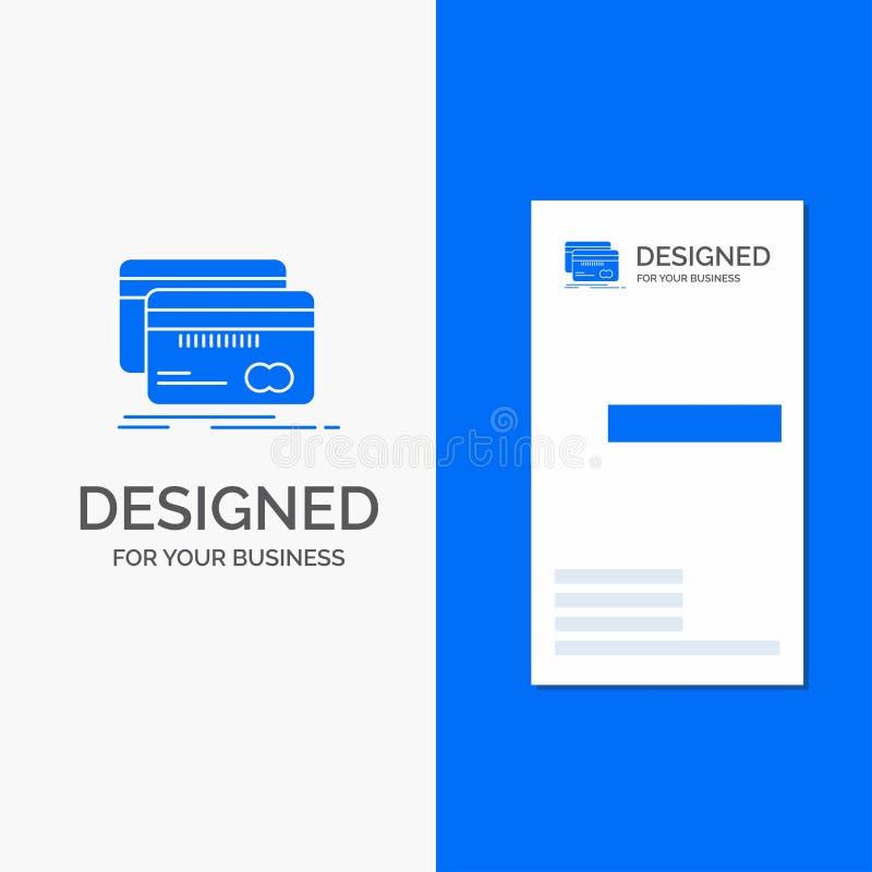 Логотип для кренить, карта дела, кредит, дебит, финансы Вертикальный голубой шаблон карты дела/посещения иллюстрация штока