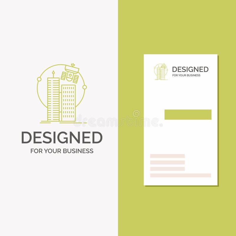 Логотип для построения, умный город дела, технология, спутник, корпорация r иллюстрация вектора
