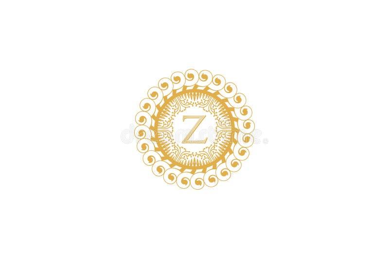 Логотип для свадьбы, бутик письма z начальный, роскошный элемент, иллюстрация вектора иллюстрация штока