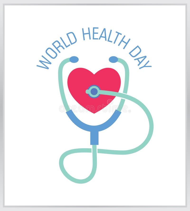 Логотип дня здоровья мира стетоскоп со значком сердца стоковое фото
