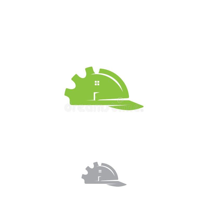 Логотип дома здания индустрии на белой предпосылке иллюстрация штока