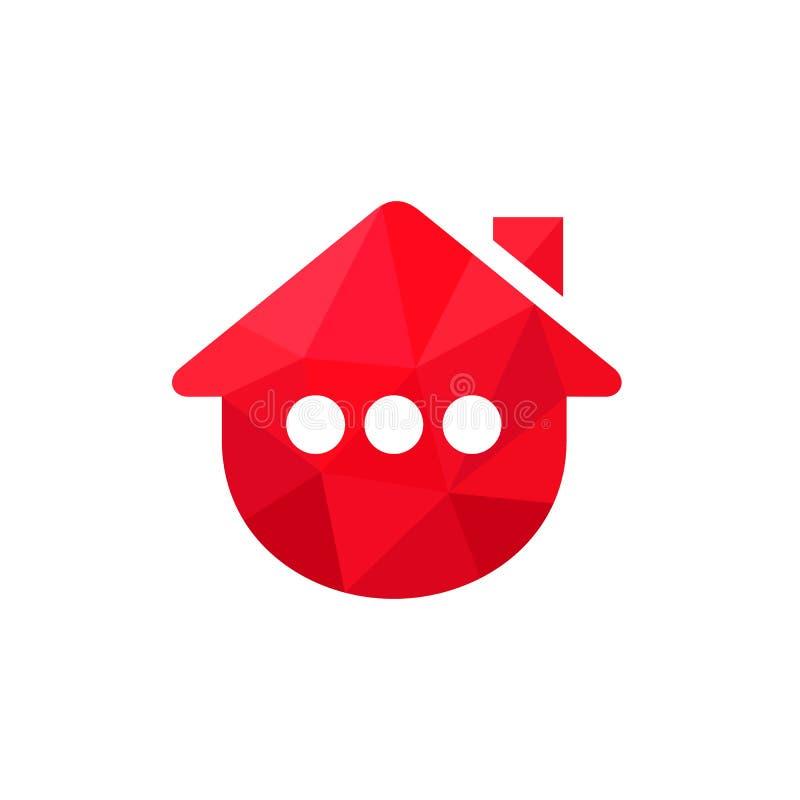 Логотип дома или дома включал с 3 точками Абстрактный значок вектора Красная низкая поли иллюстрация стиля бесплатная иллюстрация