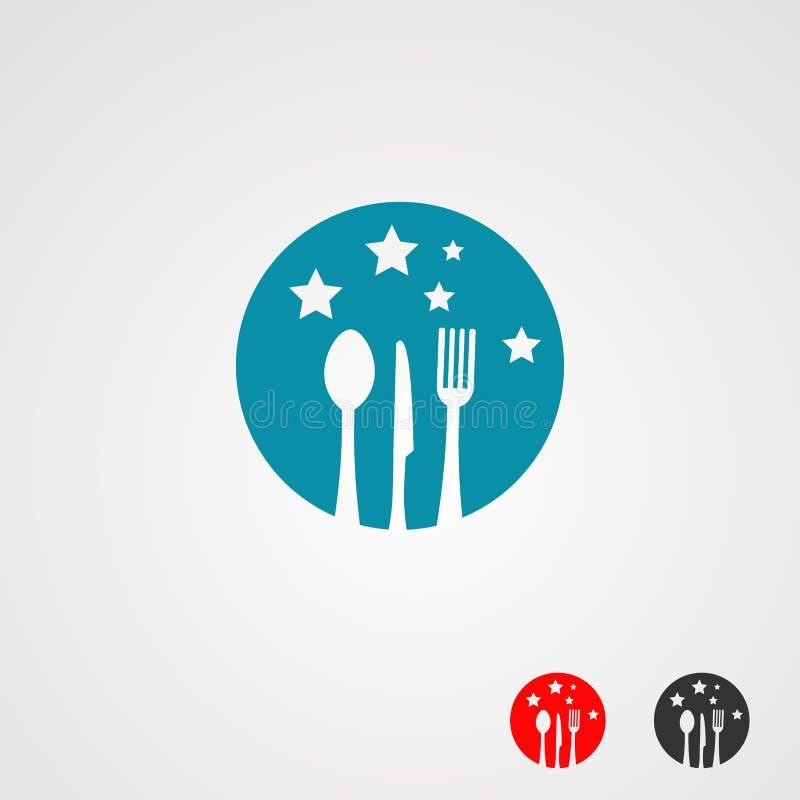 Логотип еды звезды с ножом, ложкой, и вилкой на цвете, элементе, значке, и шаблоне звезд круга голубых для компании иллюстрация штока