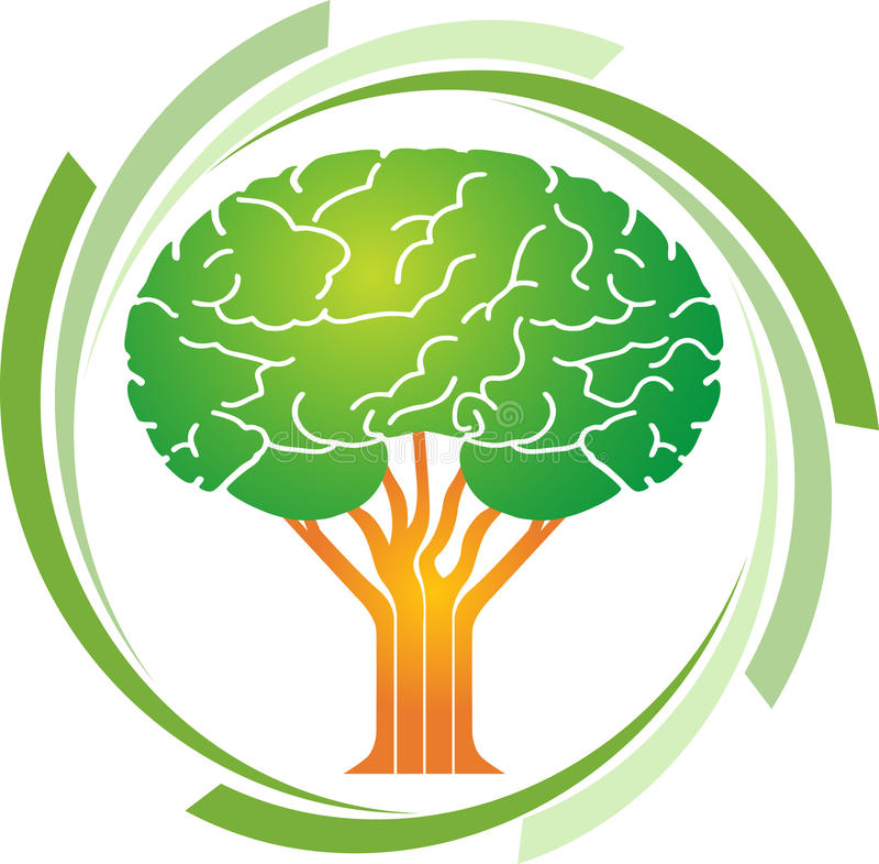 Логотип дерева мозга иллюстрация штока