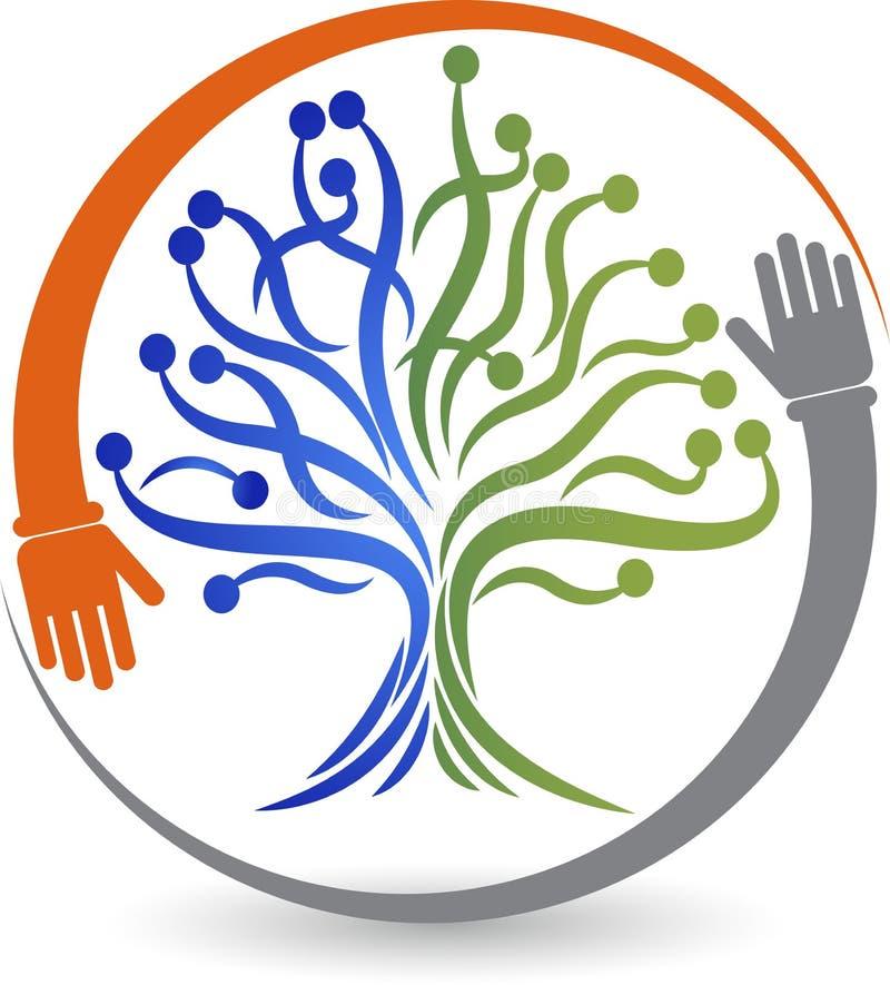 Логотип дерева руки иллюстрация штока