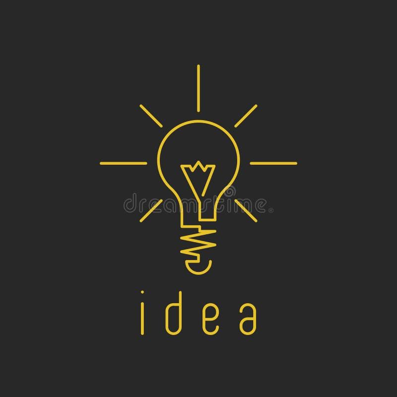 Логотип дела желтого цвета модель-макета лампы светлый, свежий значок идеи нововведения стоковое фото