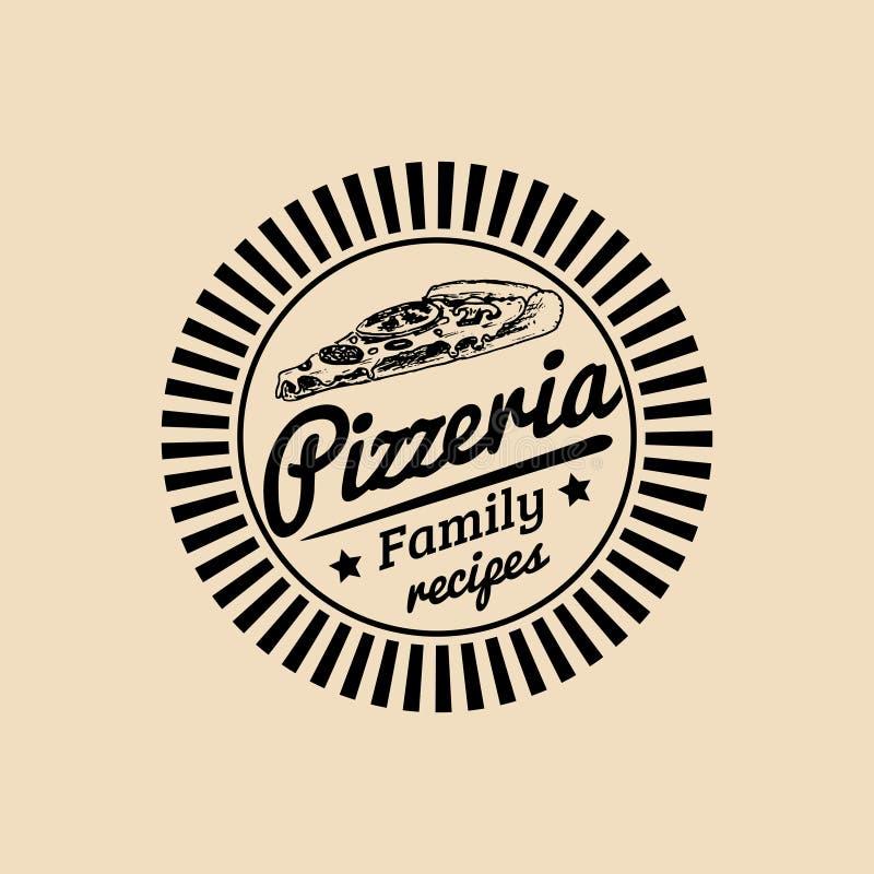 Логотип еды винтажного битника вектора итальянский Современный знак пиццы Нарисованная рукой среднеземноморская иллюстрация кухни иллюстрация штока