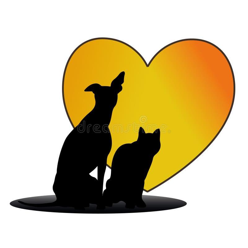 Логотип желтого цвета сердца влюбленности собаки и кошки бесплатная иллюстрация