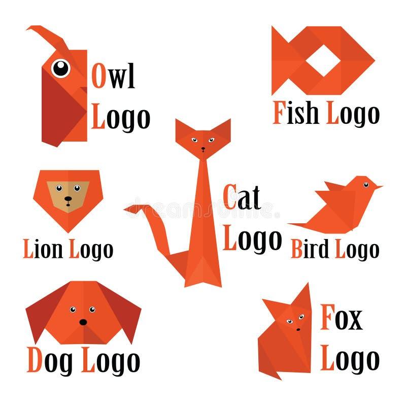 Логотип животных вектора ультрамодный в стиле origami иллюстрация штока
