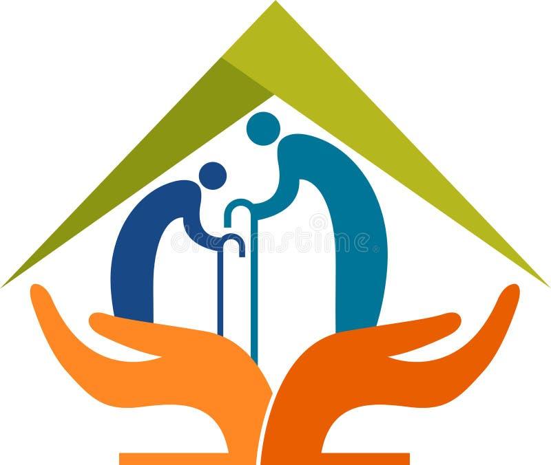 Логотип заботы пожилого гражданина иллюстрация штока