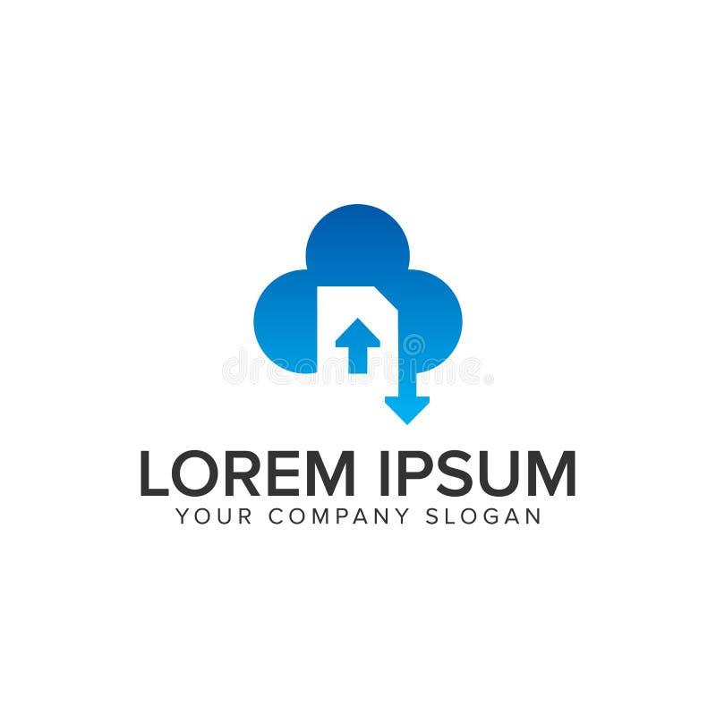 Логотип загрузки загрузки документа облака иллюстрация вектора