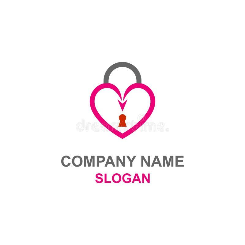 Логотип замка любов сердца иллюстрация вектора