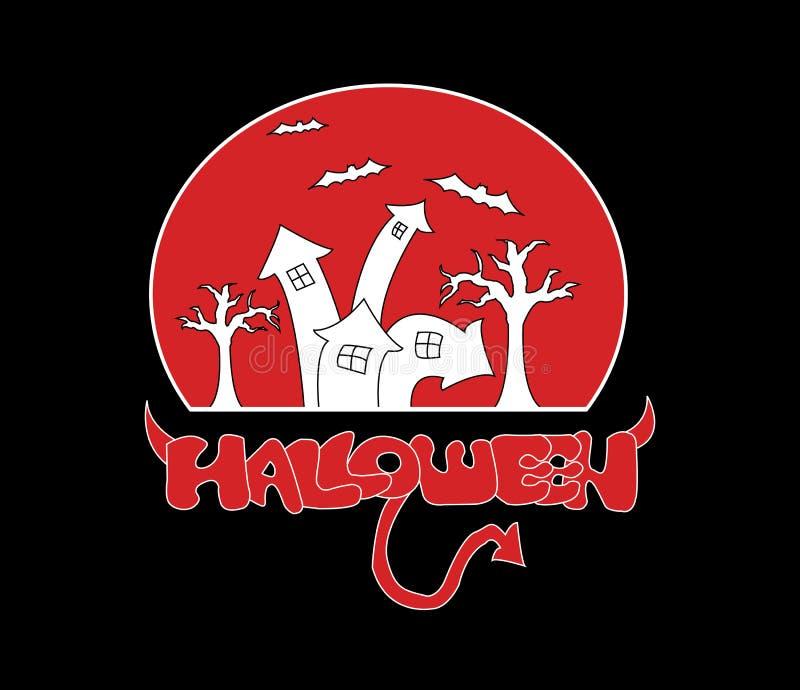 Логотип замка хеллоуина, красный freehand шрифт хеллоуина с рожком и кабелем, белый замок на красной луне с летучей мышью и ветвь бесплатная иллюстрация