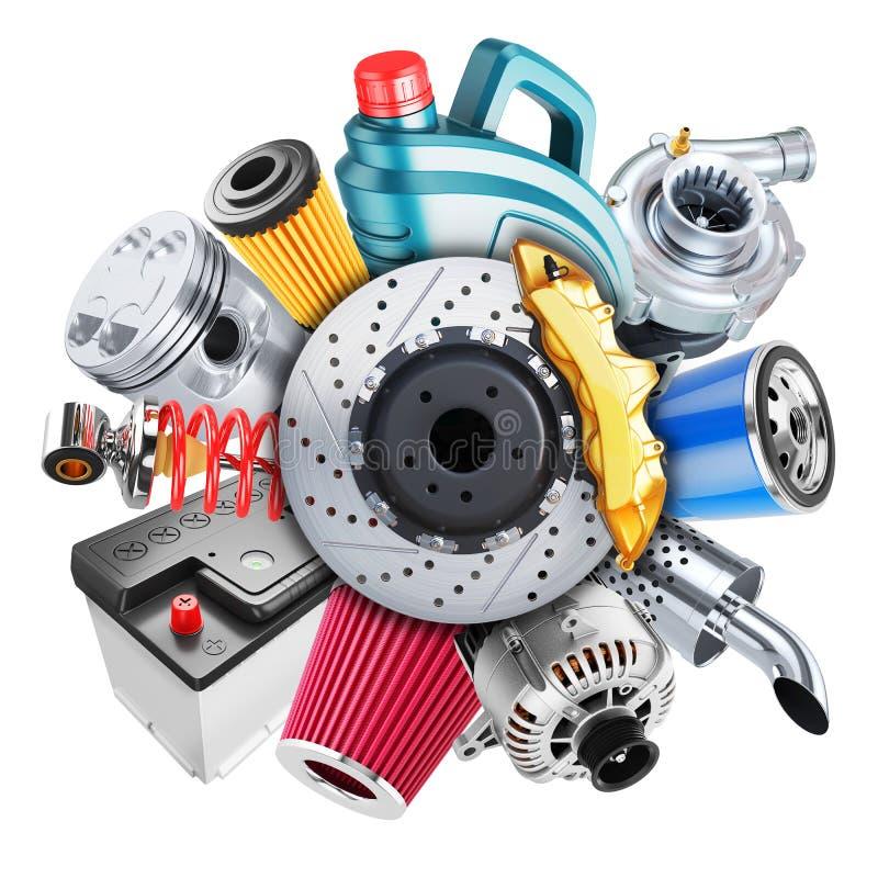 Логотип запасных частей автомобиля принципиальная схема 3d бесплатная иллюстрация