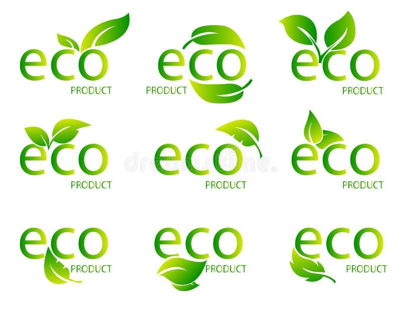 Логотип зеленого цвета натурального продучта Eco дружелюбный органический Комплект зеленого слова с зелеными лист также вектор ил иллюстрация вектора