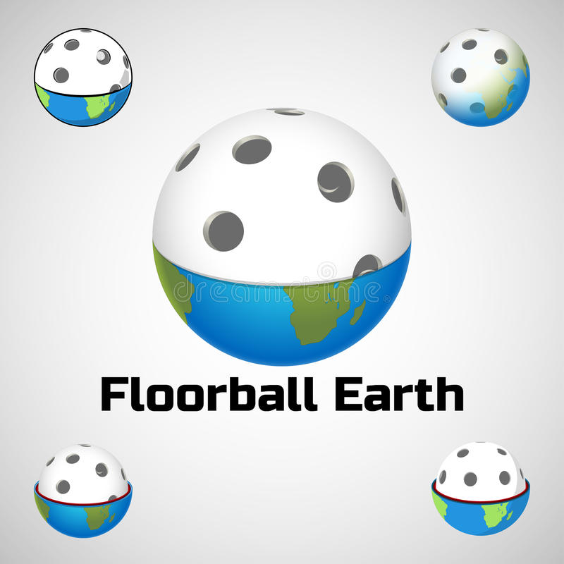 Логотип земли Floorball для команды и чашки иллюстрация штока