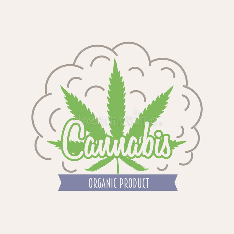Логотип знака марихуаны Medicalcannabis или шаблон ярлыка в векторе с лист и облаками дыма иллюстрация вектора