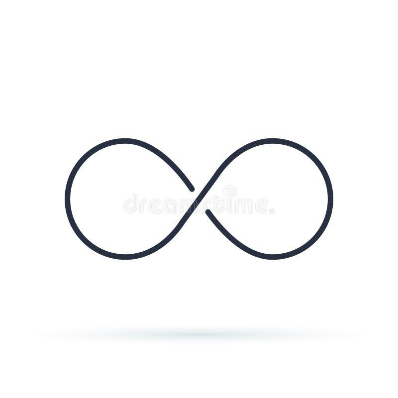Логотип значка безграничности Неограниченная иллюстрация вектора, безграничный символ Черный контур 8, толщина иллюстрация вектора