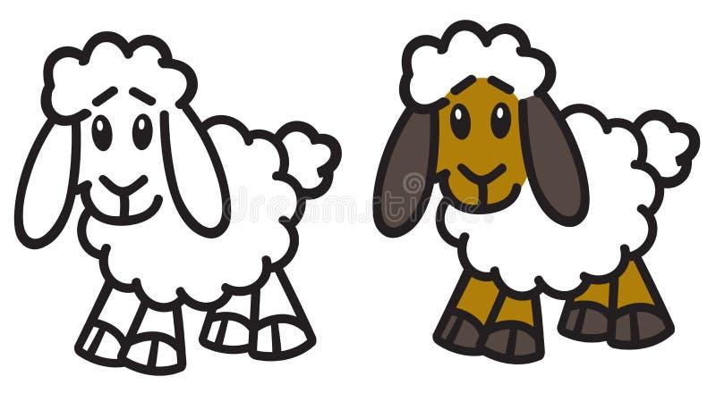 Логотип значка овец овечки мультфильма иллюстрация вектора