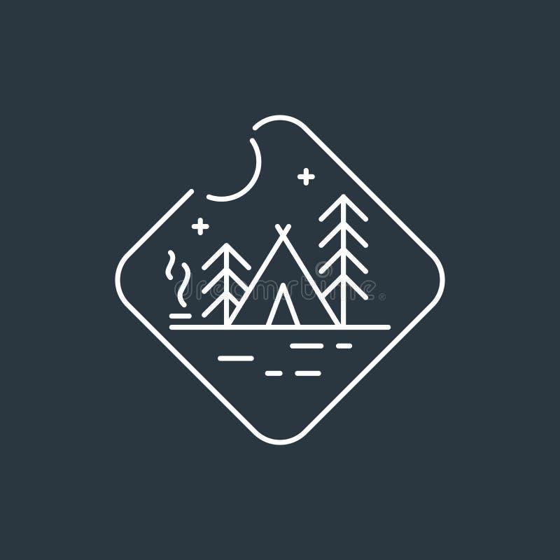 Логотип значка располагаясь лагерем бесплатная иллюстрация