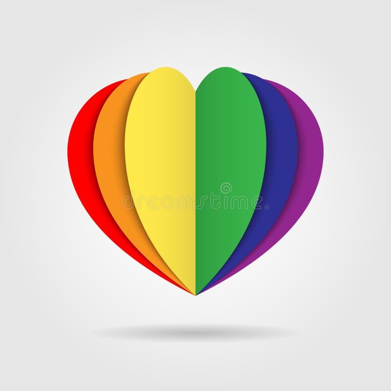 Логотип значка сердца радуги на белой предпосылке иллюстрация вектора