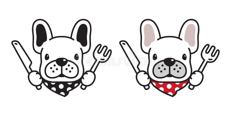 Логотип значка французского бульдога собаки есть иллюстрацию персонажа из мультфильма шарфа вилки ножа еды бесплатная иллюстрация