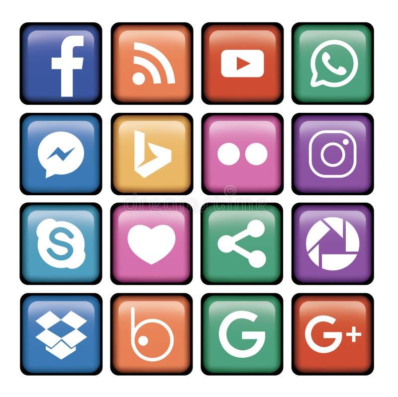 логотип 16 значков социальный стоковые фото