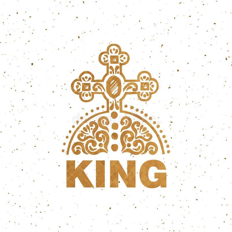 Логотип, значок и значок короля Золотая королевская эмблема Открытка, шаблон карточки Текстура Grunge иллюстрация вектора
