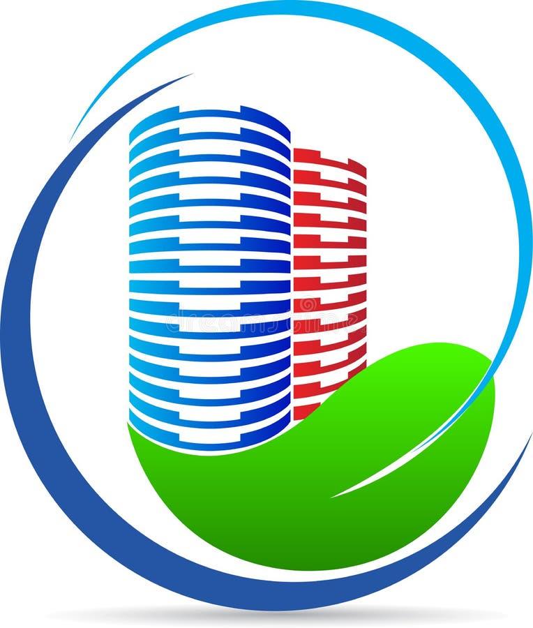 Логотип здания природы Eco иллюстрация вектора