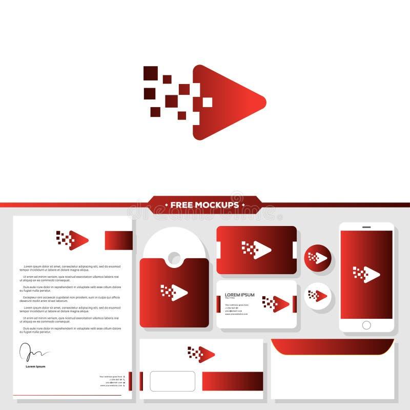 Логотип игры клеймя с дизайном модель-макета канцелярских принадлежностей бесплатная иллюстрация