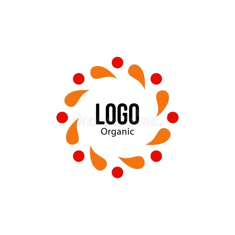 Логотип изолированной абстрактной красочной округлой формы красный и оранжевый цвета Логотип спирали Spining Значок круга листьев иллюстрация вектора