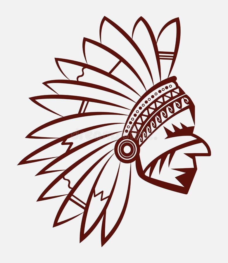 Логотип или значок вождя коренного американца человека индийского в национальном головном уборе пера Эмблема Дикого Запада иллюстрация вектора