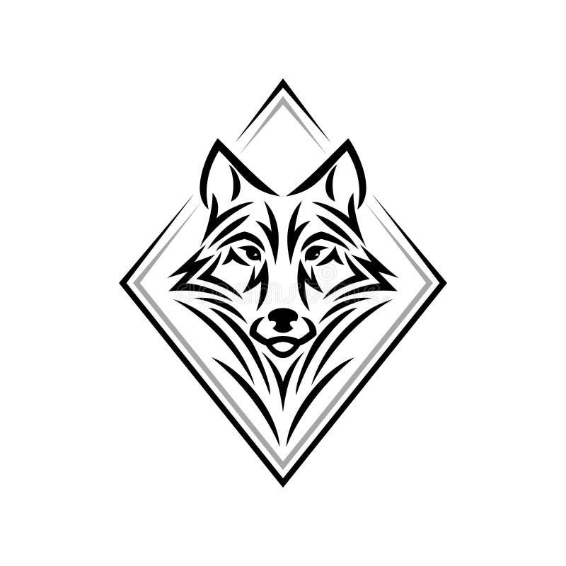 Логотип или значок волка главные в одном цвете Голова племенного стиля татуировки животная бесплатная иллюстрация