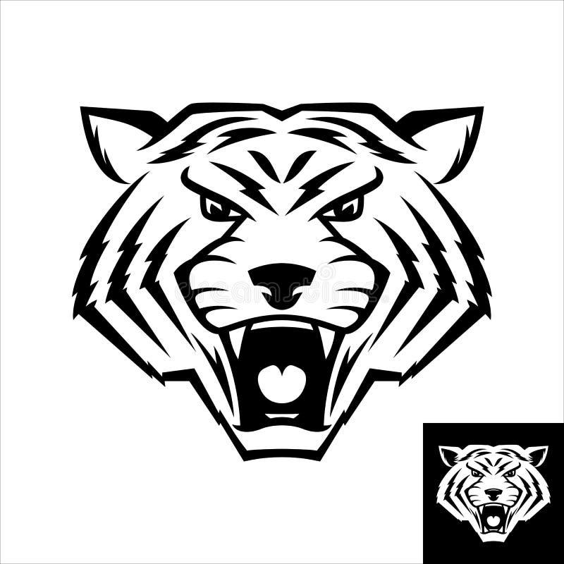Логотип или значок дикого кота главный в черно-белом цвете Версия заворота включила иллюстрация вектора